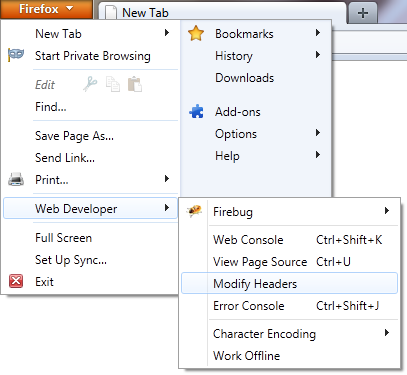 Application menu of Firefox 4 on Windows